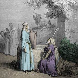 Rebecca and Abraham's servant at the well