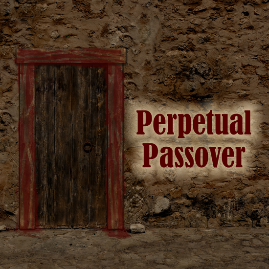 Ancient Doorway with blood around it, Perpetual Passover
