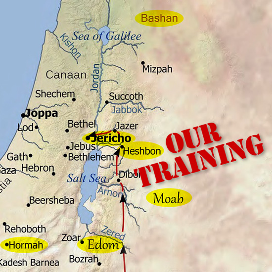 Our Training title on map of promised land